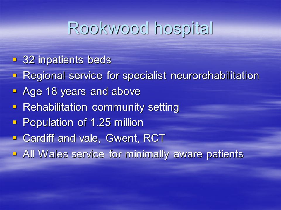Rookwood hospital 32 inpatients beds