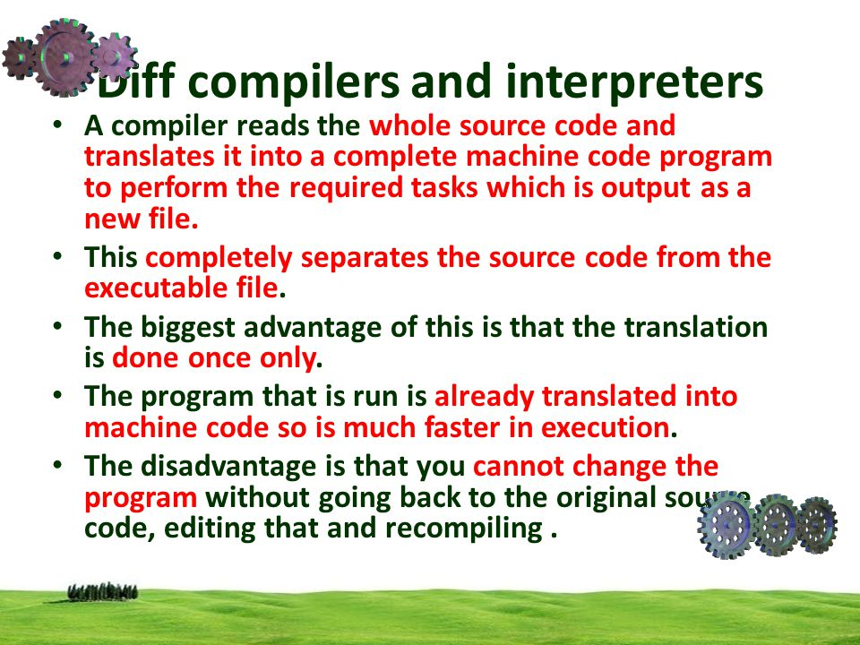 Diff compilers and interpreters