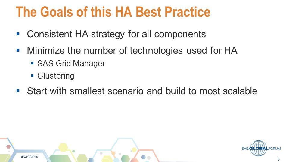 The Goals of this HA Best Practice