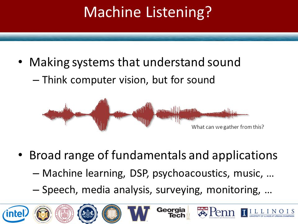 Machine Listening Making systems that understand sound