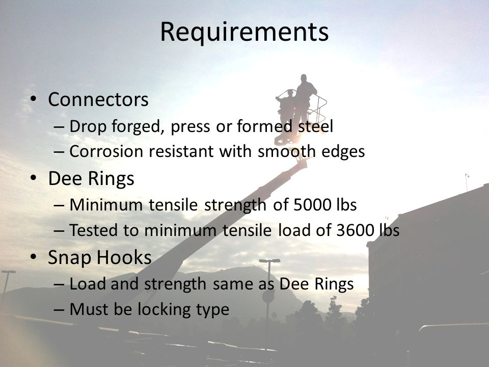 Requirements Connectors Dee Rings Snap Hooks
