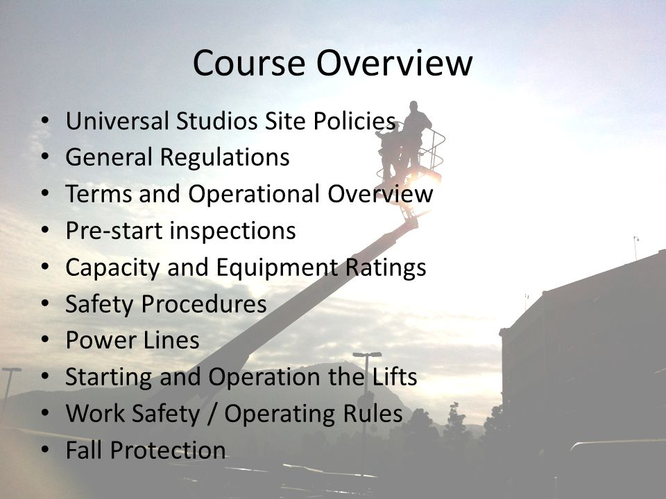 Course Overview Universal Studios Site Policies General Regulations