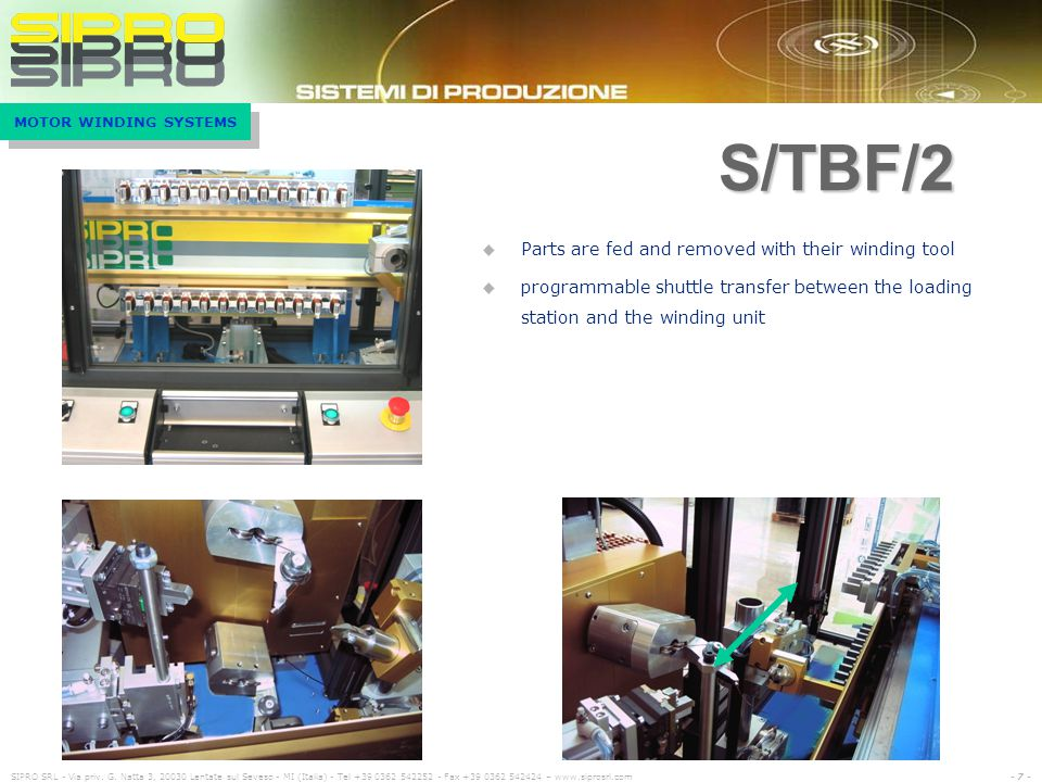 S/TBF/2 Parts are fed and removed with their winding tool