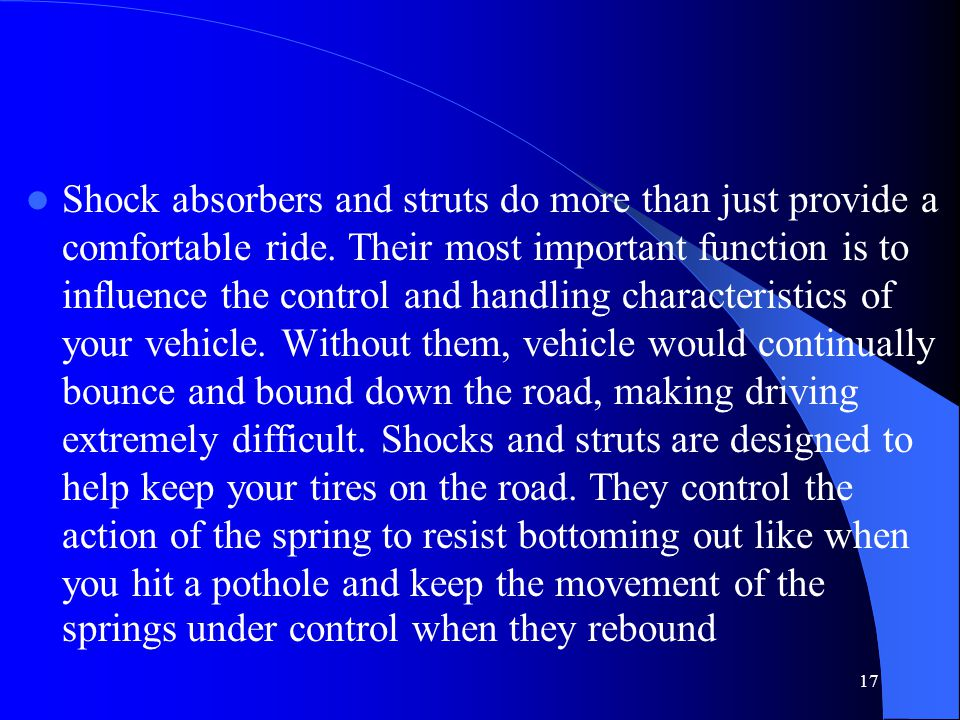 Shock absorbers and struts do more than just provide a comfortable ride.