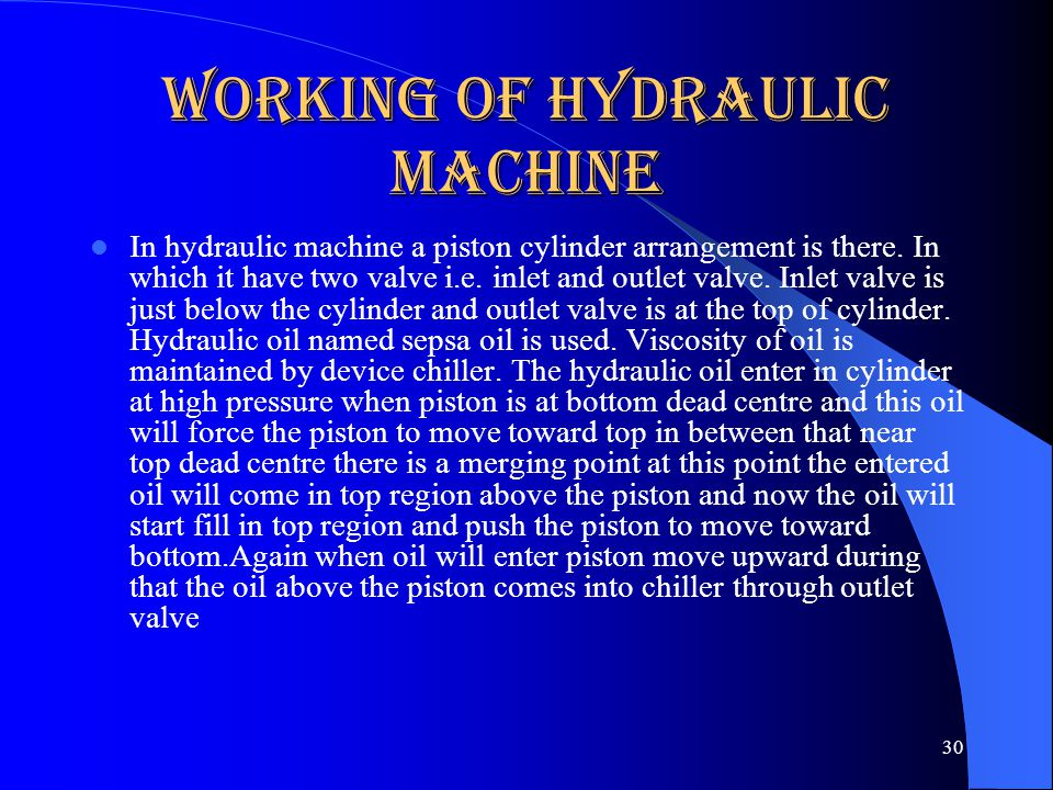 Working of Hydraulic Machine