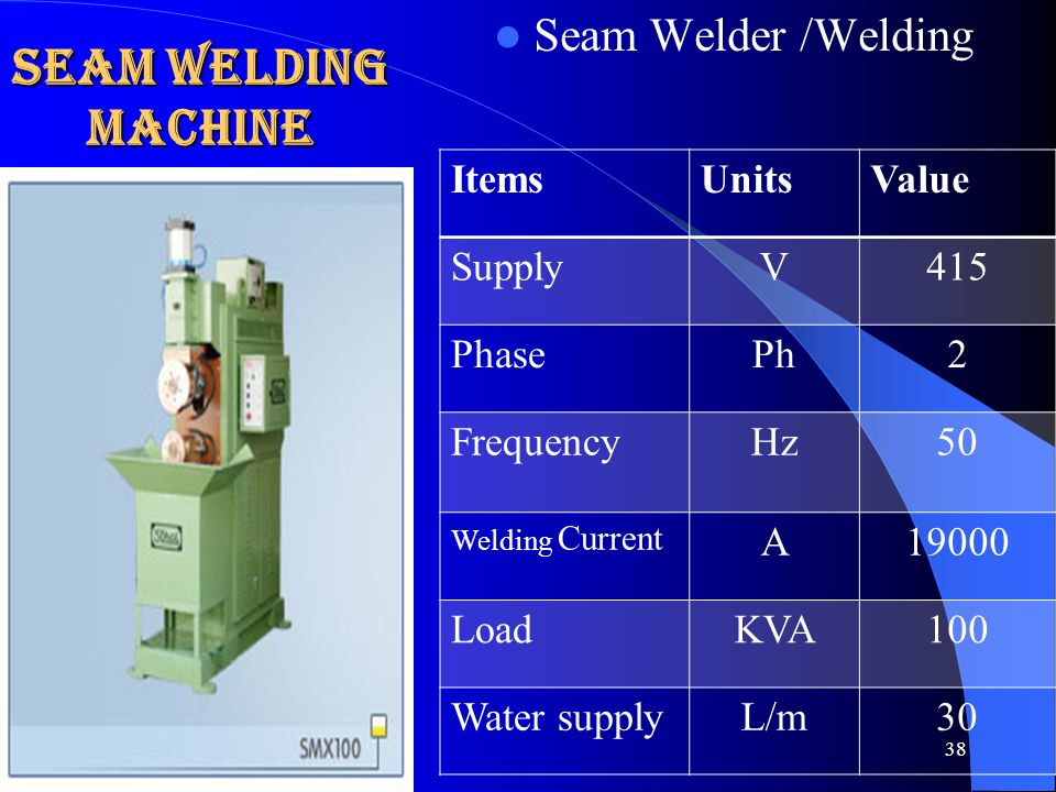 Seam Welding Machine Seam Welder /Welding Items Units Value Supply V