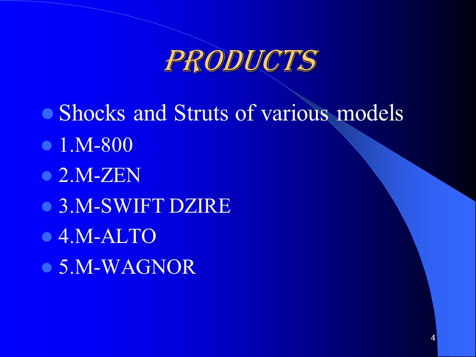 Products Shocks and Struts of various models 1.M-800 2.M-ZEN