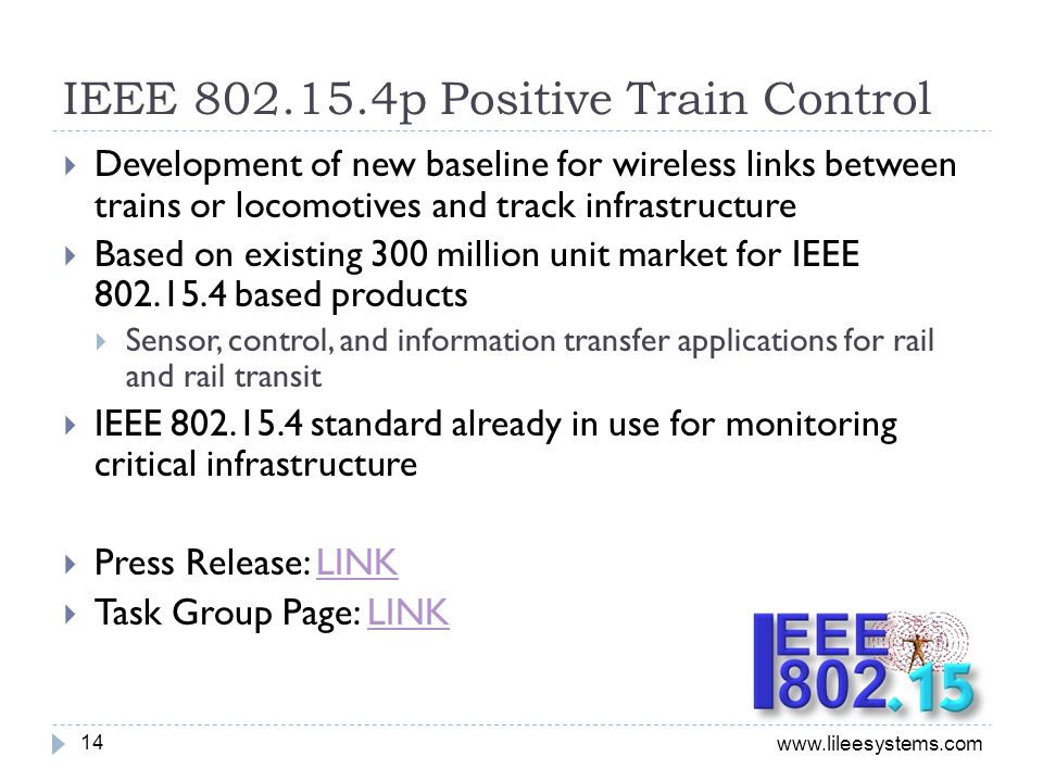 IEEE 802.15.4p Positive Train Control