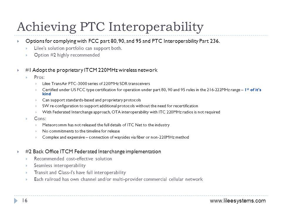 Achieving PTC Interoperability