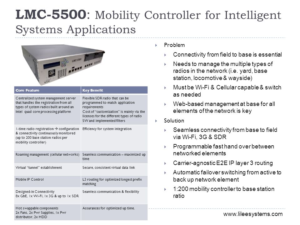 LMC-5500: Mobility Controller for Intelligent Systems Applications