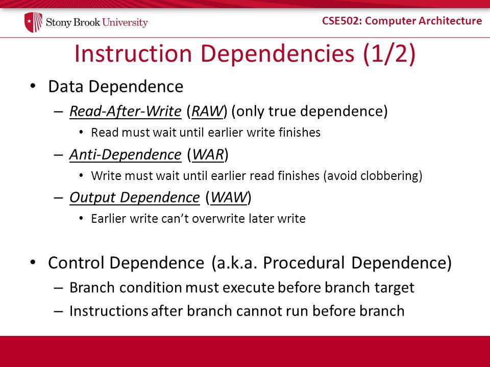 Instruction Dependencies (1/2)