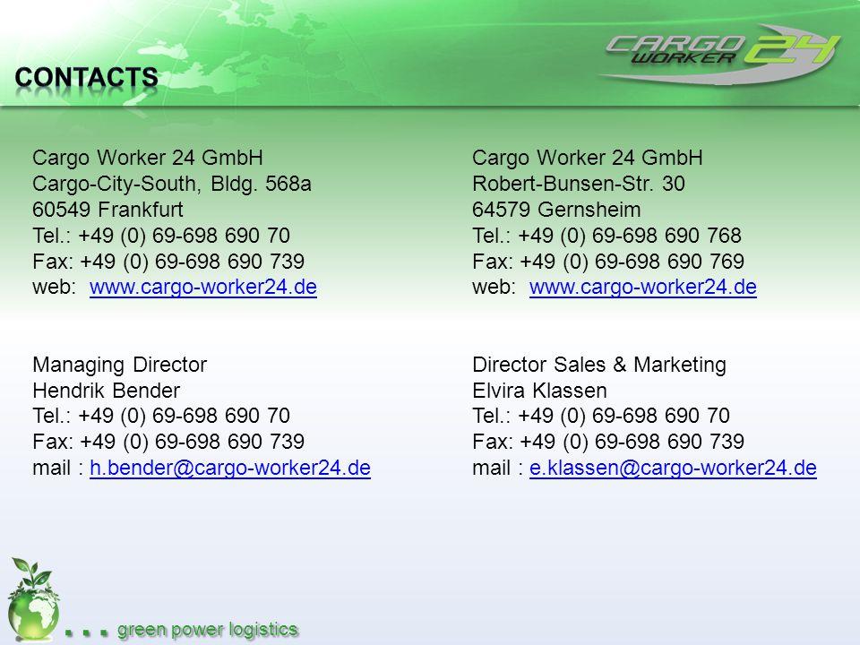 Contacts Cargo Worker 24 GmbH Cargo-City-South, Bldg. 568a 60549 Frankfurt. Tel.: +49 (0) 69-698 690 70.