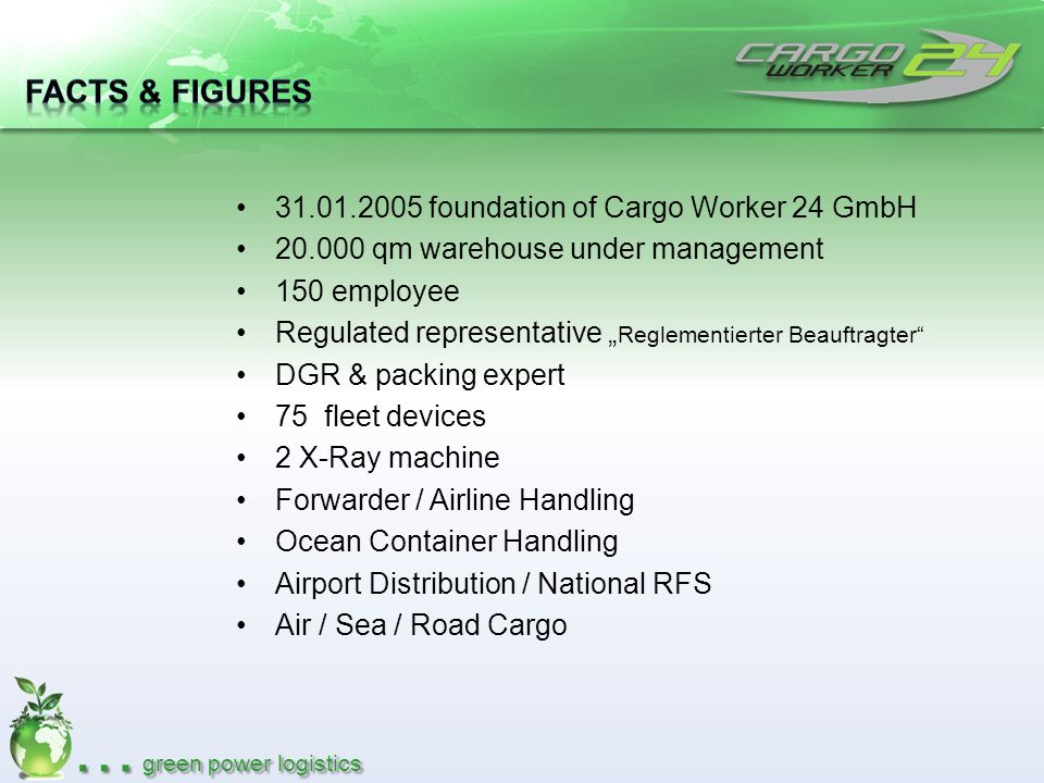 Facts & Figures 31.01.2005 foundation of Cargo Worker 24 GmbH