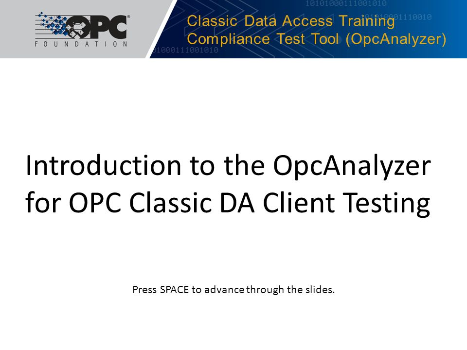 Classic Data Access Training Compliance Test Tool (OpcAnalyzer)
