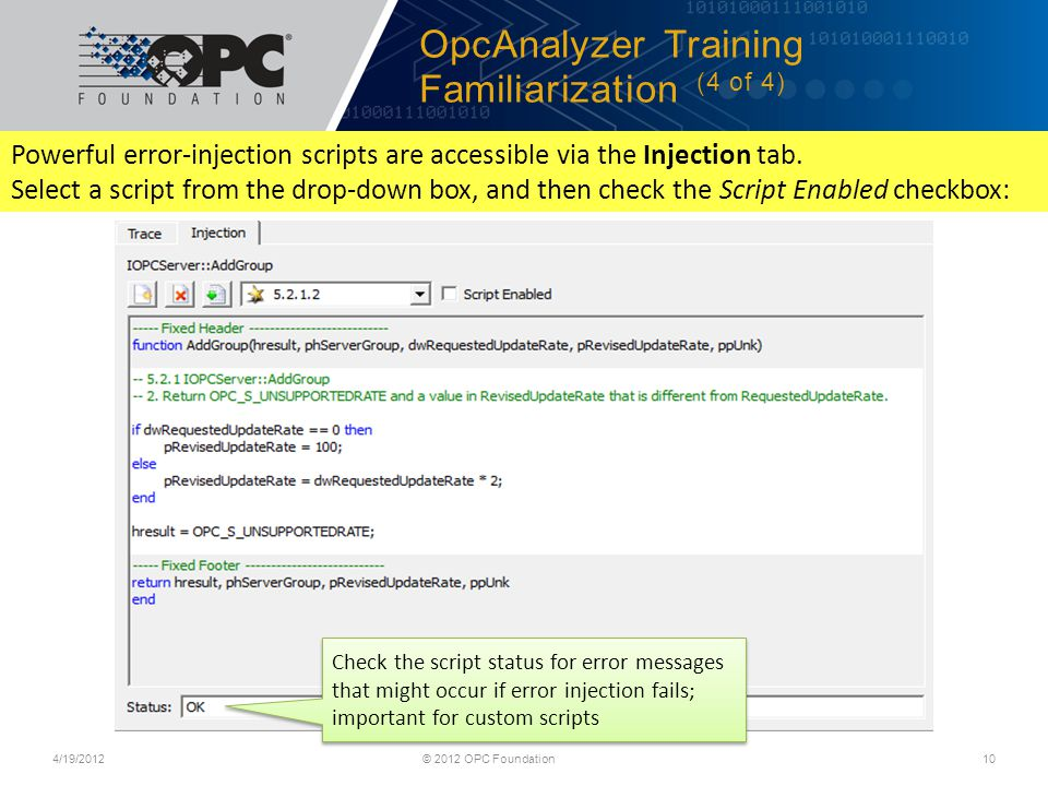 OpcAnalyzer Training Familiarization (4 of 4)