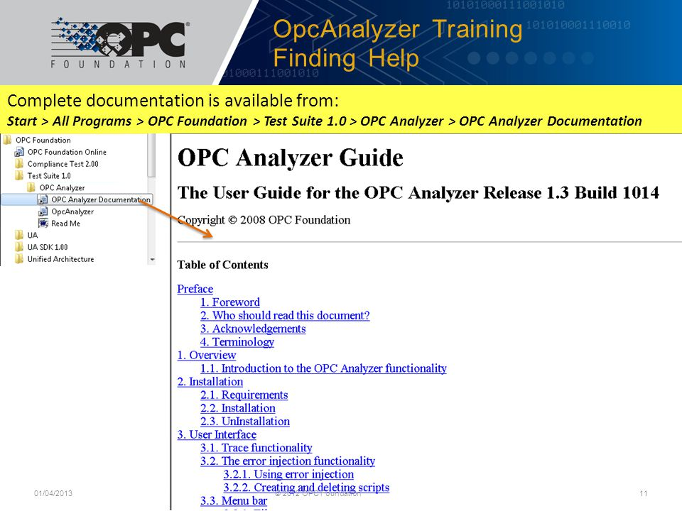 OpcAnalyzer Training Finding Help