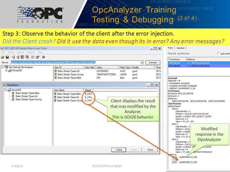 OpcAnalyzer Training Testing & Debugging (3 of 4)
