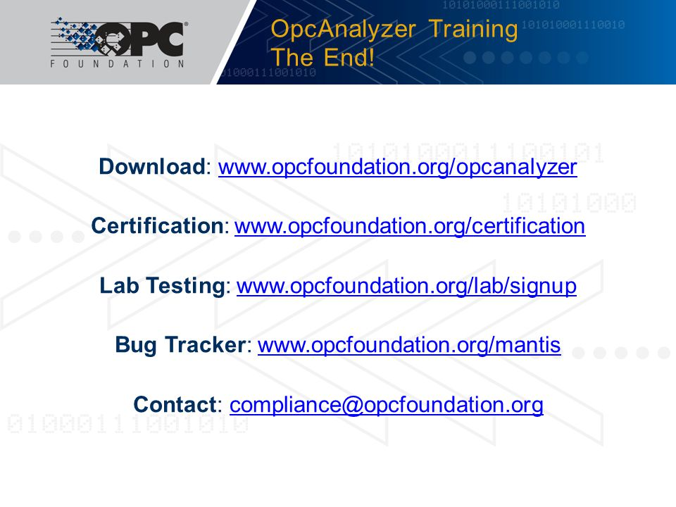 OpcAnalyzer Training The End!