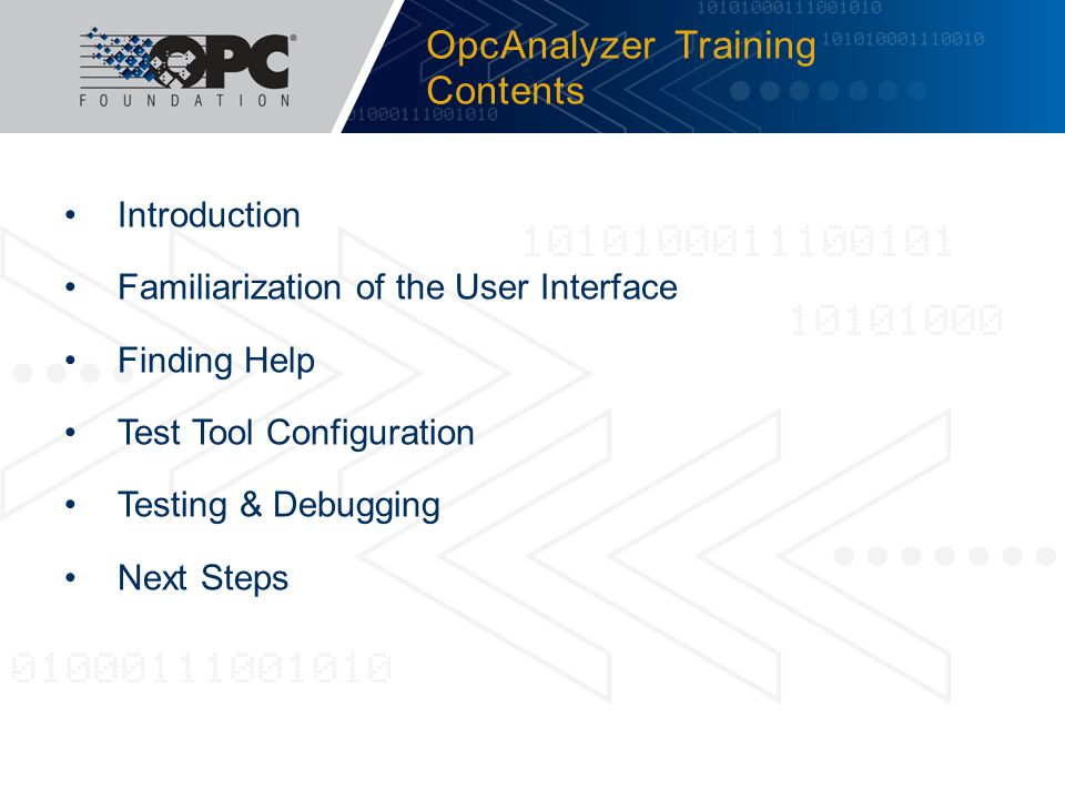 OpcAnalyzer Training Contents