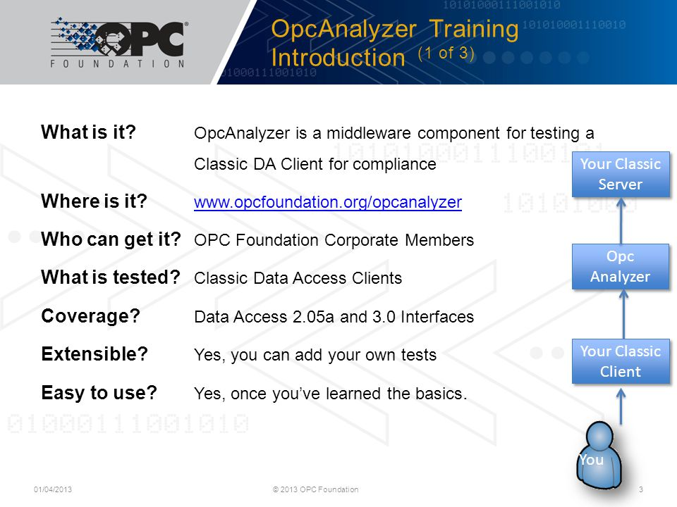 OpcAnalyzer Training Introduction (1 of 3)