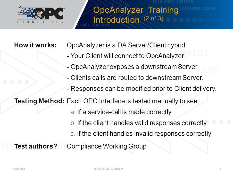 OpcAnalyzer Training Introduction (2 of 3)
