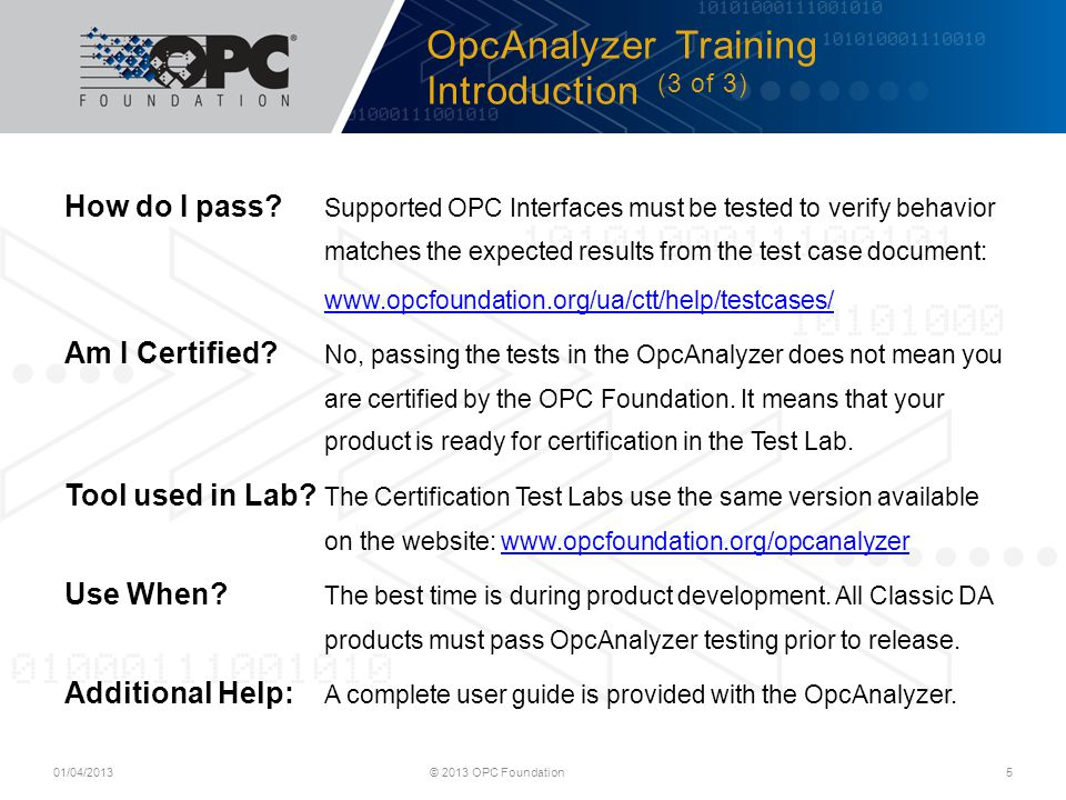 OpcAnalyzer Training Introduction (3 of 3)
