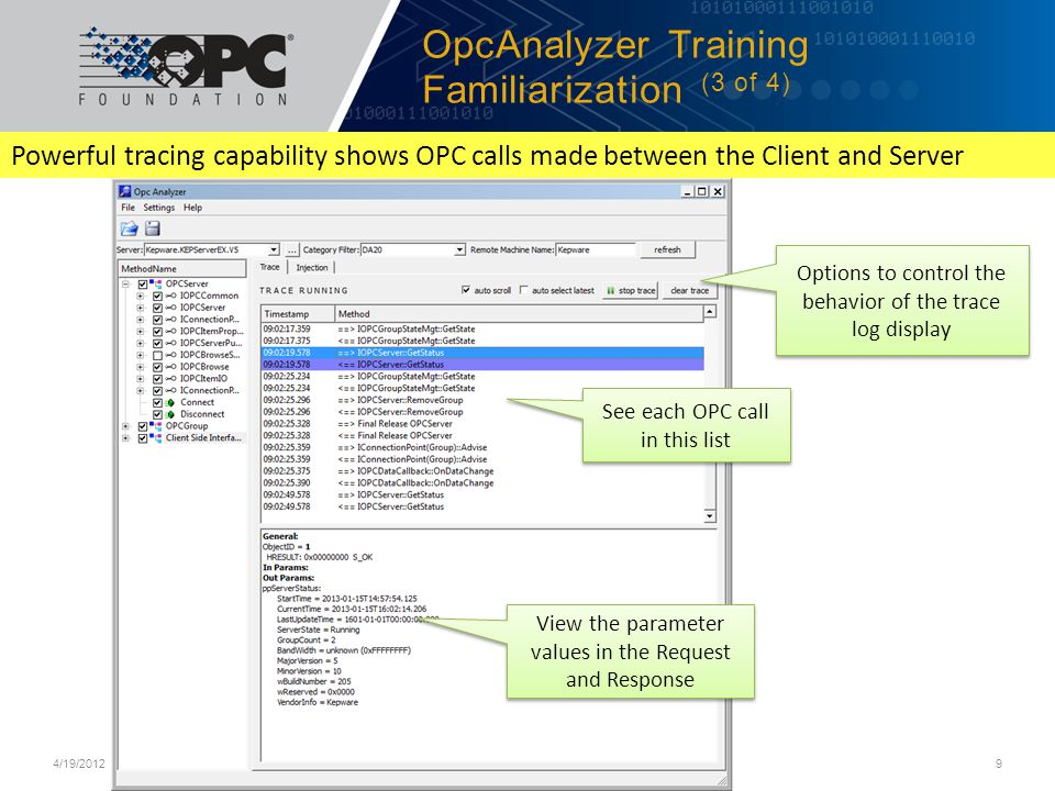 OpcAnalyzer Training Familiarization (3 of 4)