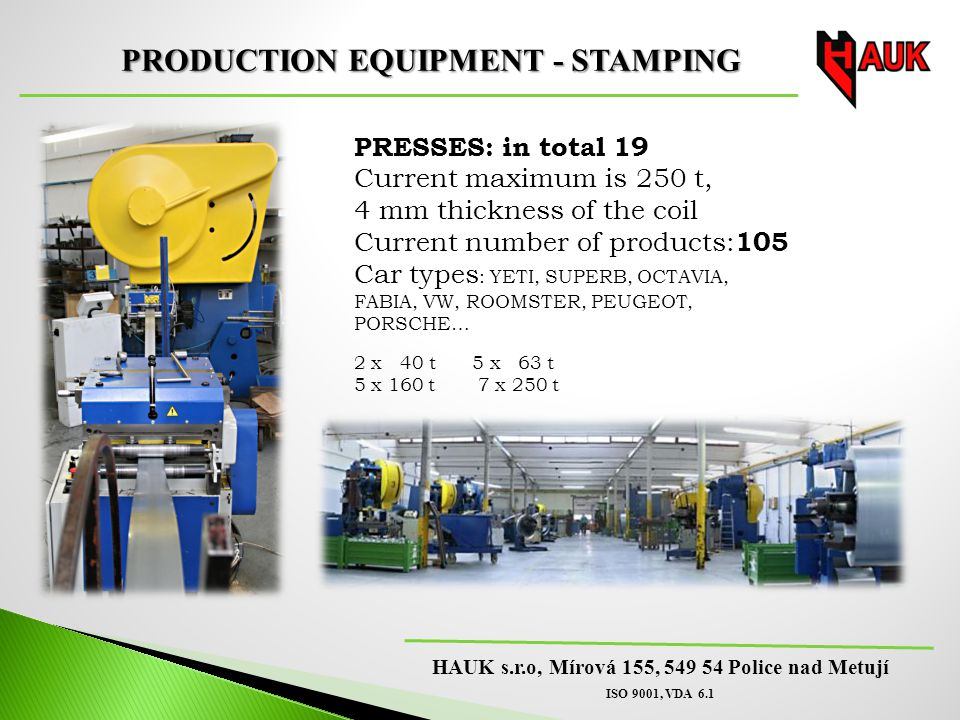 PRODUCTION EQUIPMENT - STAMPING