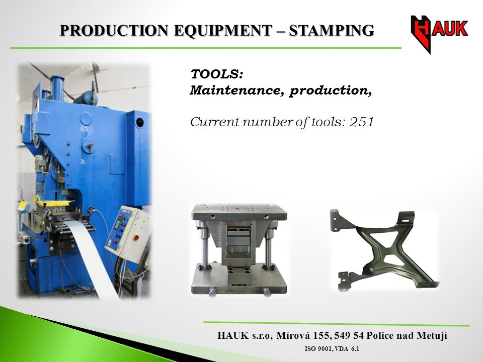 PRODUCTION EQUIPMENT – STAMPING