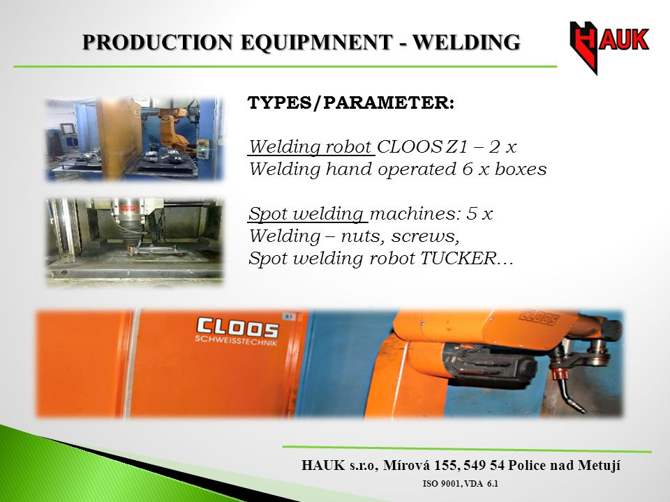 PRODUCTION EQUIPMNENT - WELDING