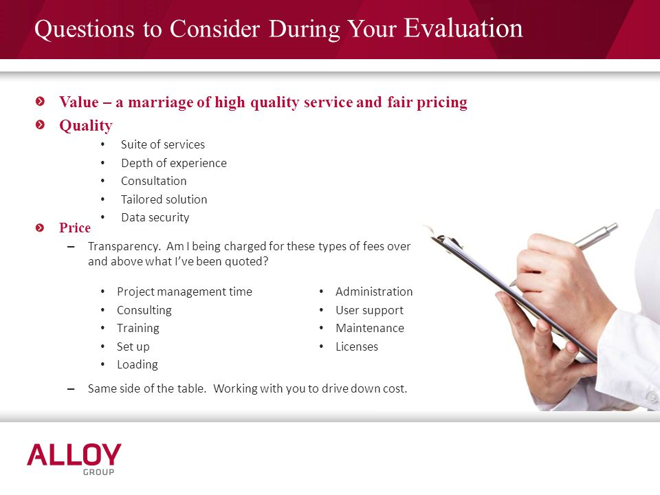 Questions to Consider During Your Evaluation