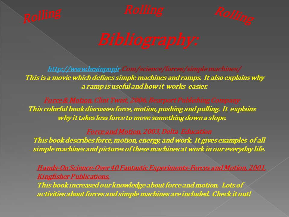 Bibliography: Rolling Rolling Rolling