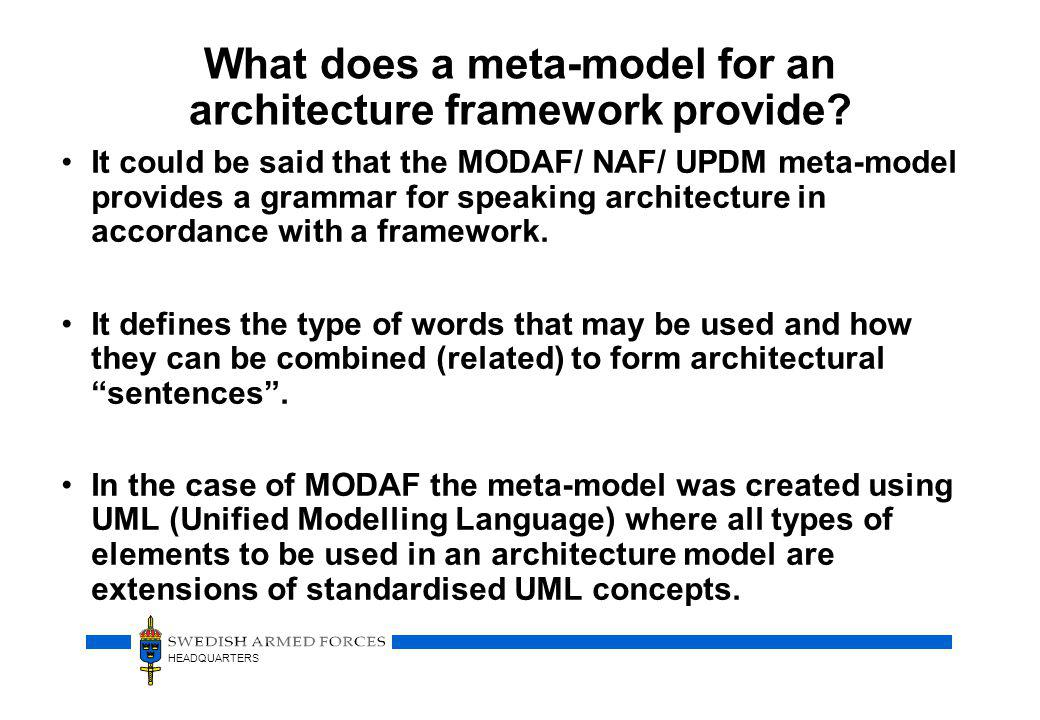 What does a meta-model for an architecture framework provide
