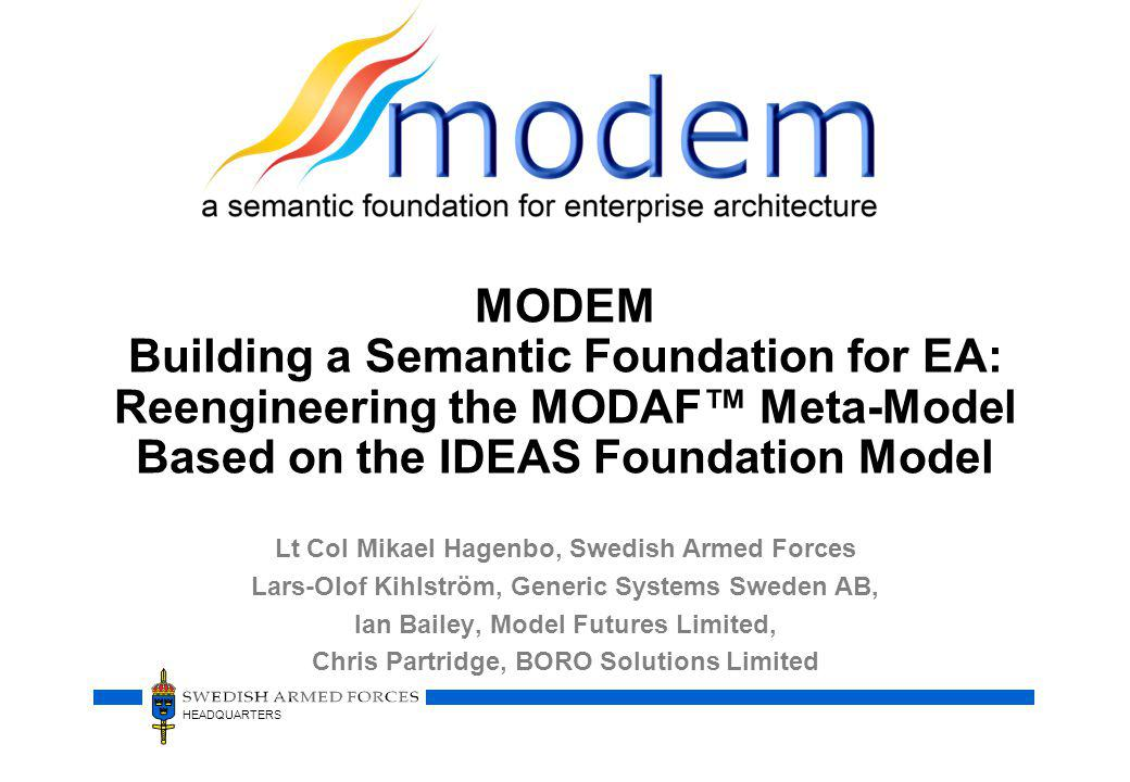 MODEM Building a Semantic Foundation for EA: Reengineering the MODAF™ Meta-Model Based on the IDEAS Foundation Model