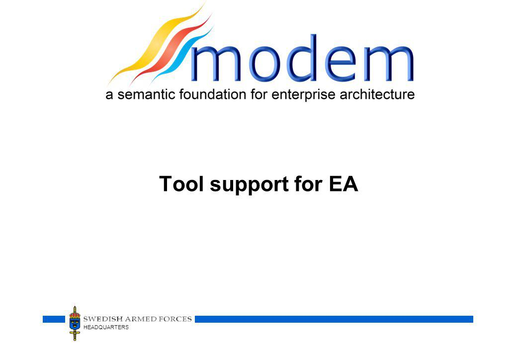 Tool support for EA
