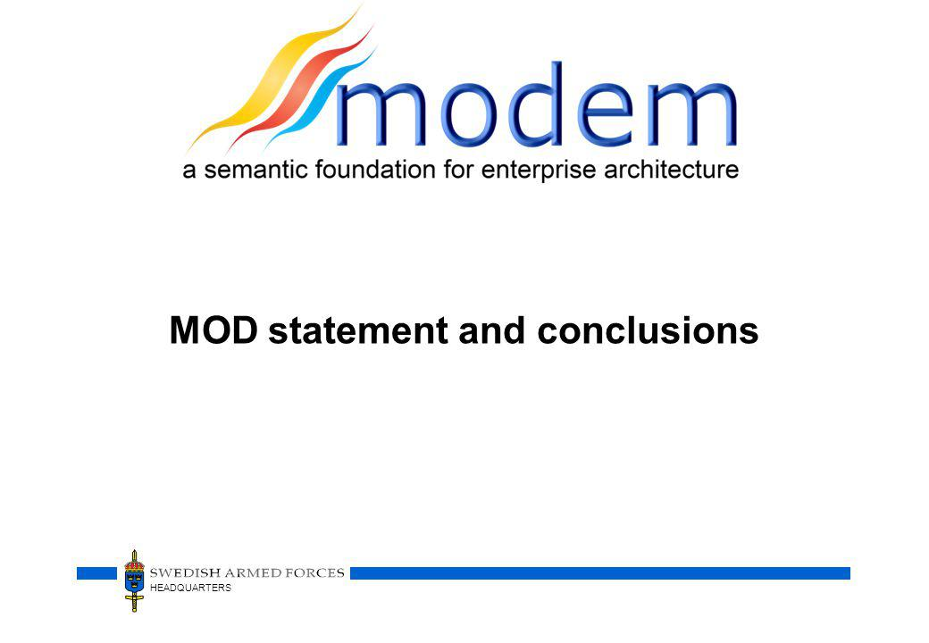 MOD statement and conclusions