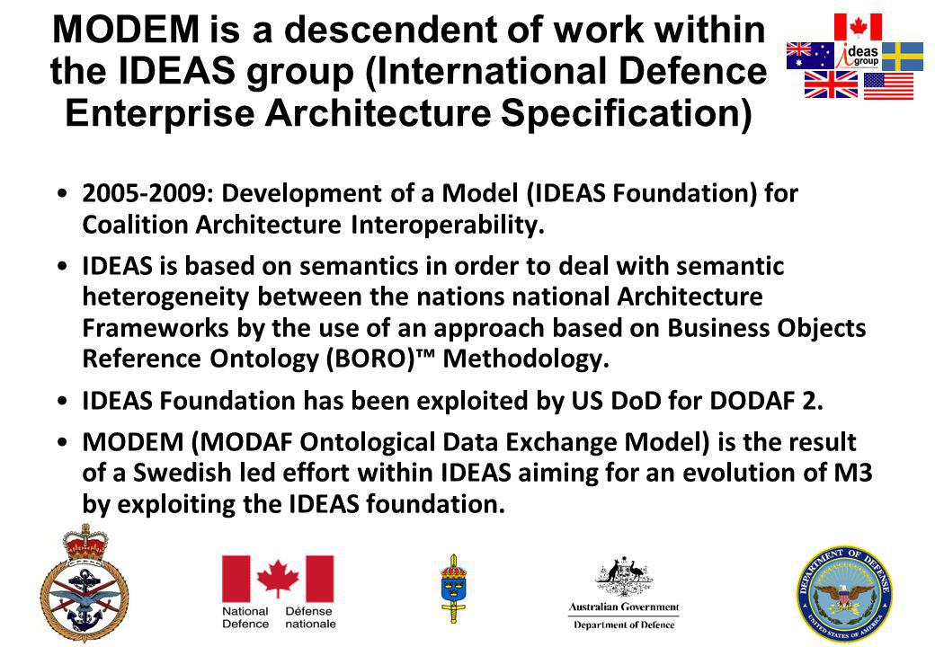 MODEM is a descendent of work within the IDEAS group (International Defence Enterprise Architecture Specification)