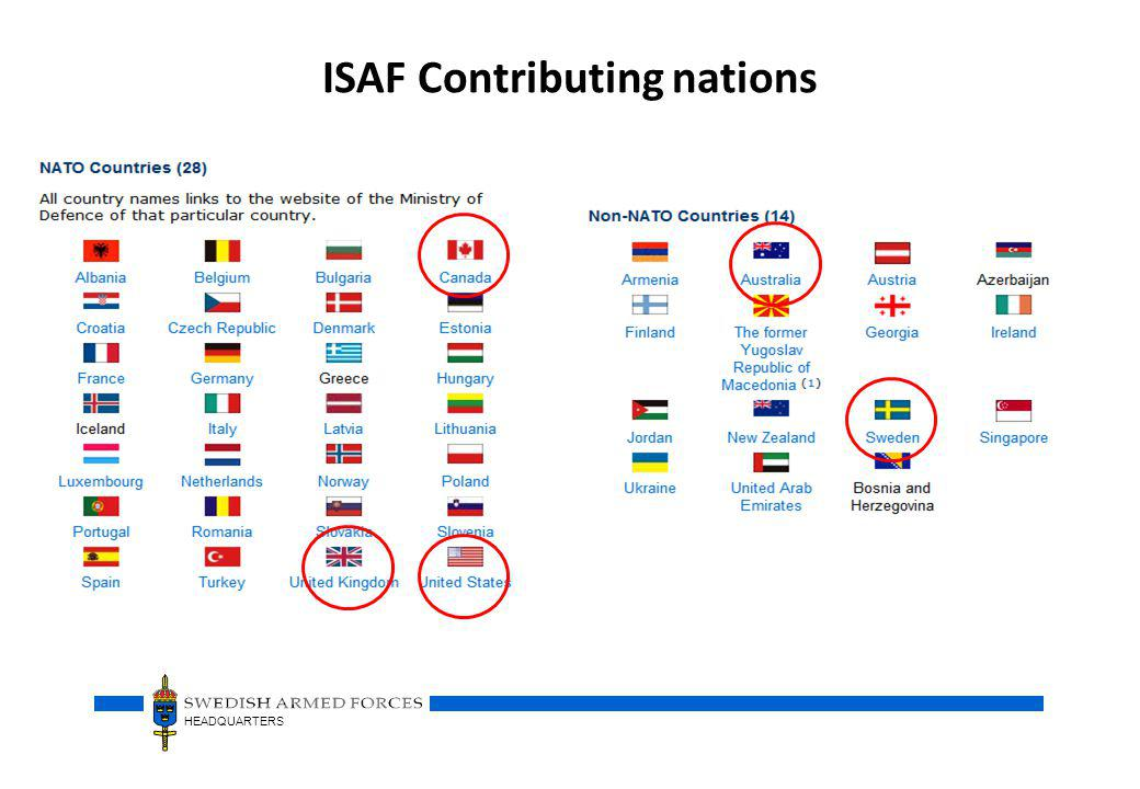 ISAF Contributing nations