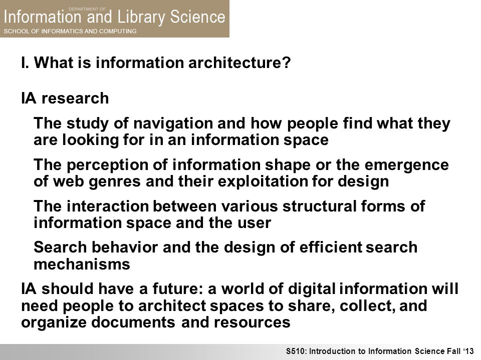 I. What is information architecture