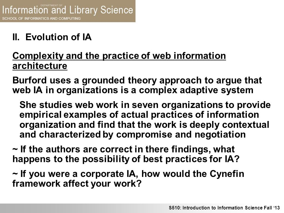 II. Evolution of IA Complexity and the practice of web information architecture.