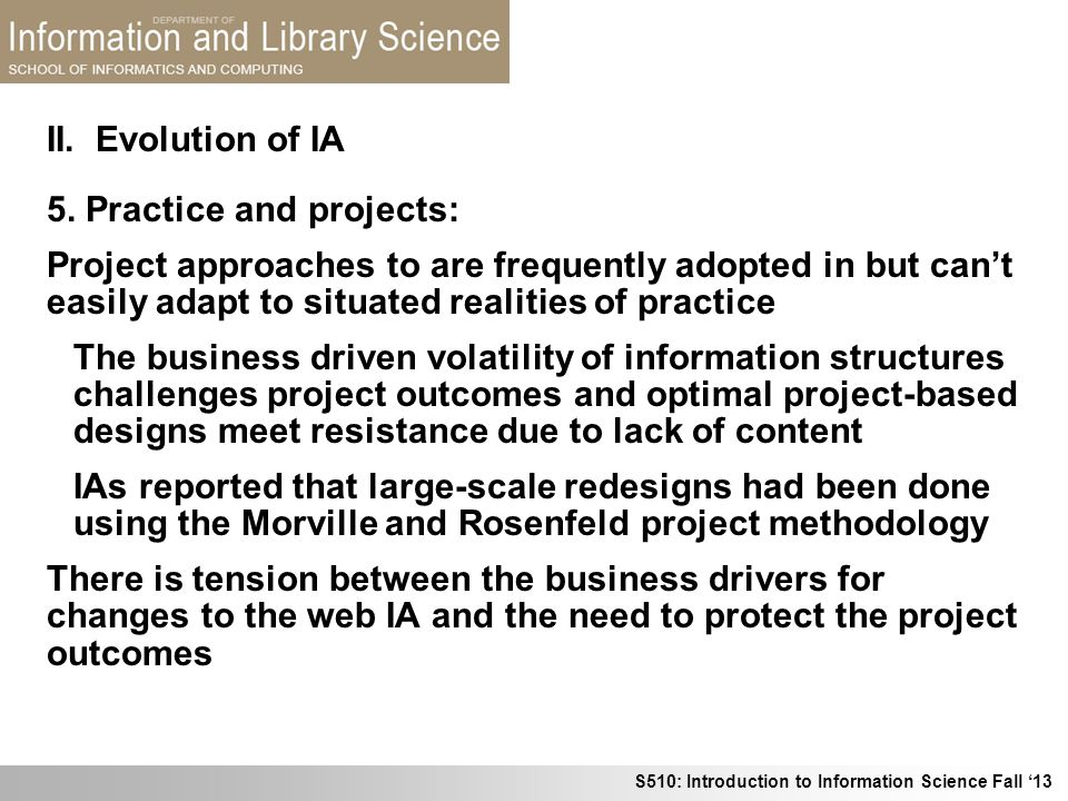 II. Evolution of IA 5. Practice and projects:
