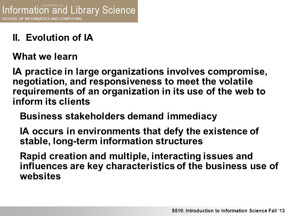 II. Evolution of IA What we learn.