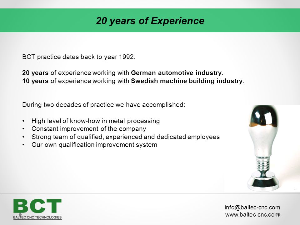 20 years of Experience BCT practice dates back to year 1992.