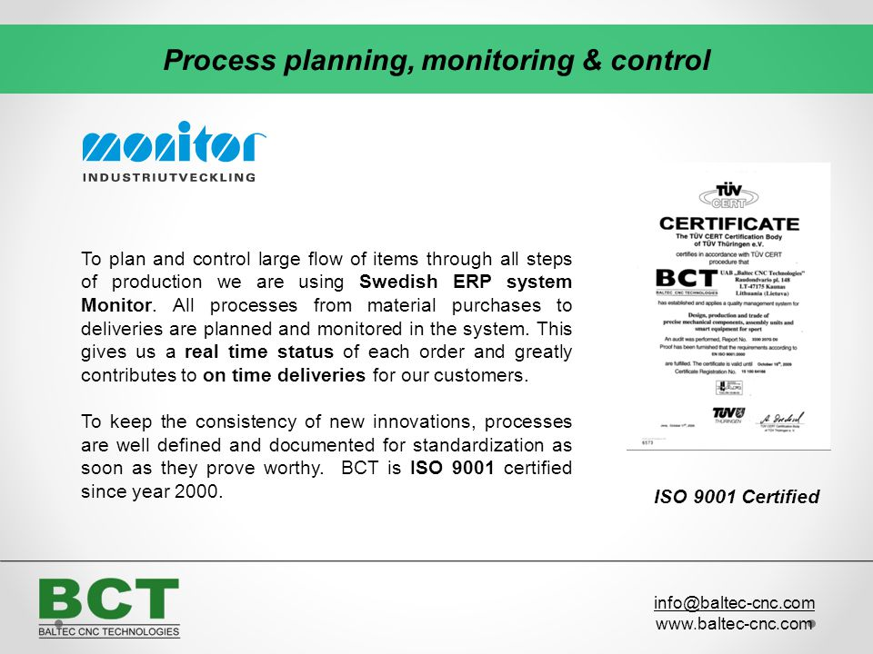 Process planning, monitoring & control