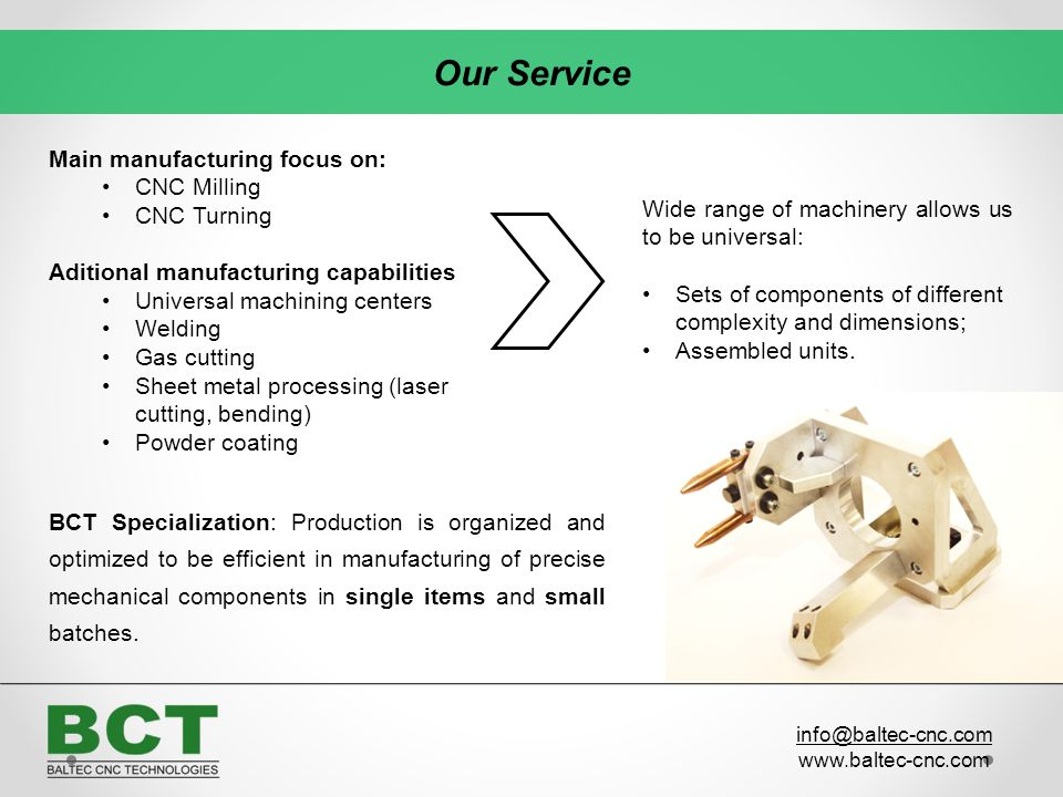 Our Service Main manufacturing focus on: CNC Milling CNC Turning