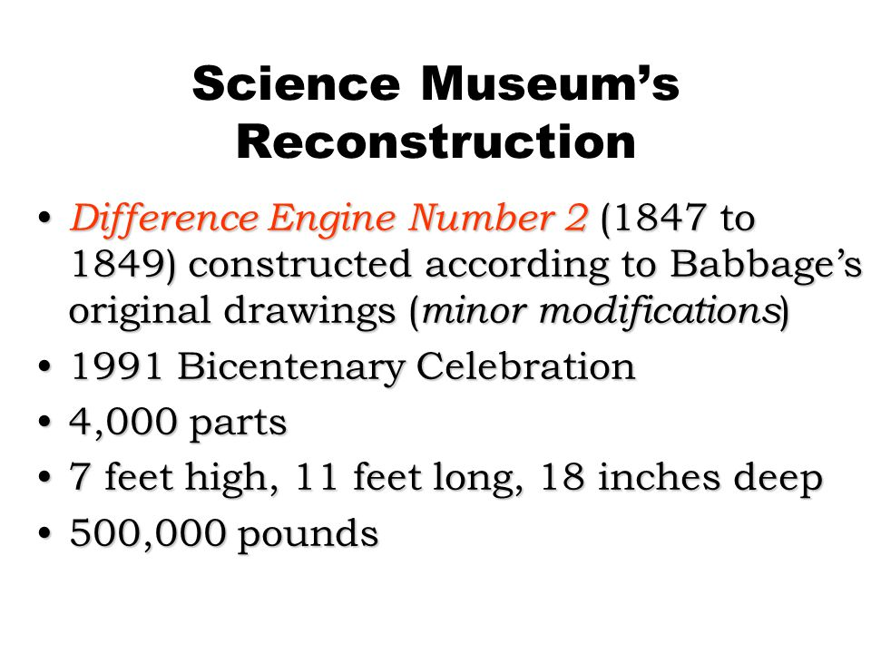 Science Museum's Reconstruction