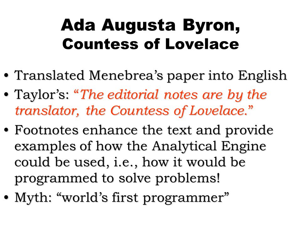 Ada Augusta Byron, Countess of Lovelace