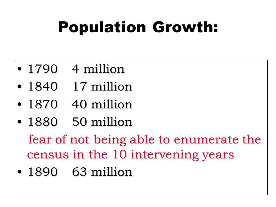 Population Growth: 1790 4 million 1840 17 million 1870 40 million