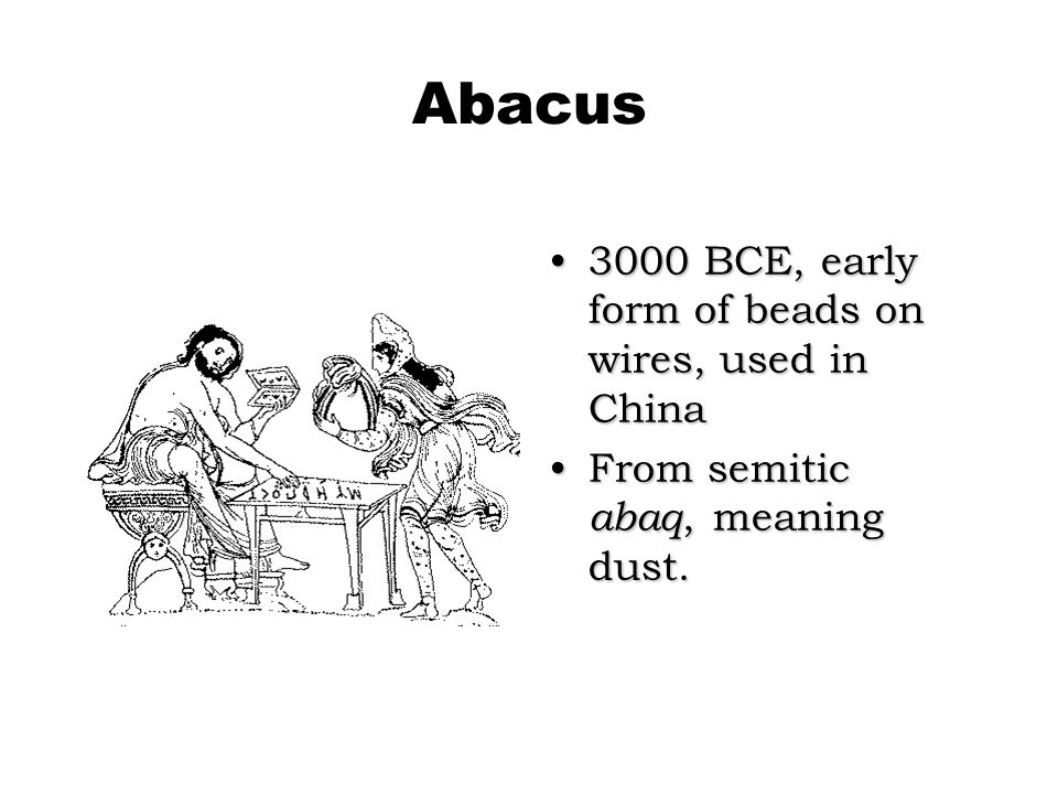 Abacus 3000 BCE, early form of beads on wires, used in China