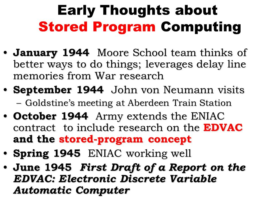 Early Thoughts about Stored Program Computing